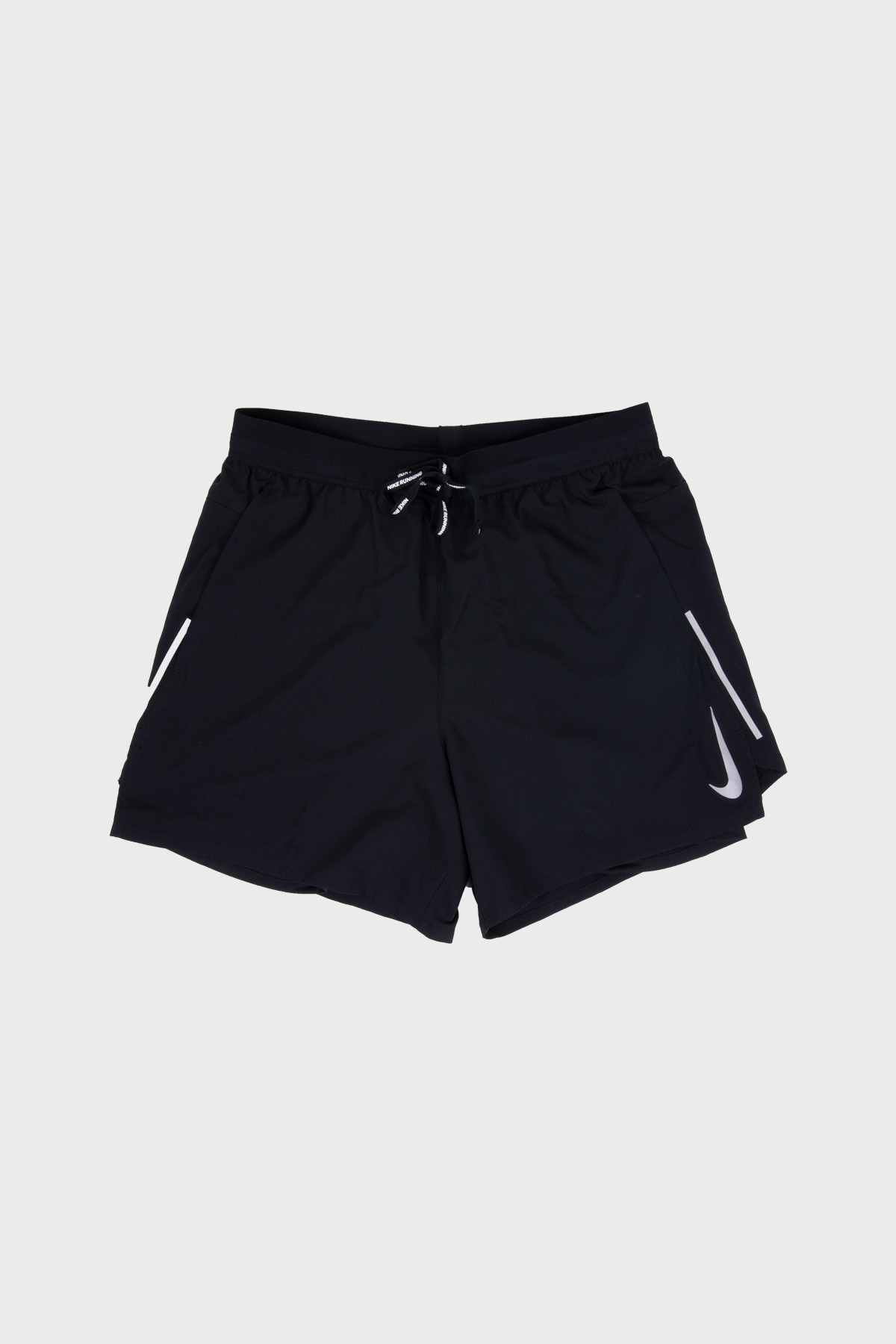 "Nike - Men's 5"" 2-in-1 Running Shorts Flex Stride - Black Black Metallic Silver"